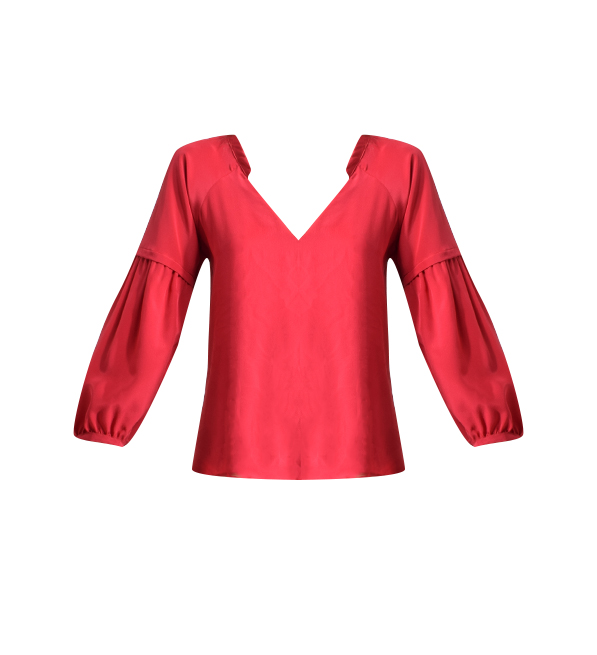 Lavender Brown Bubble Sleeve Blouse in Raspberry