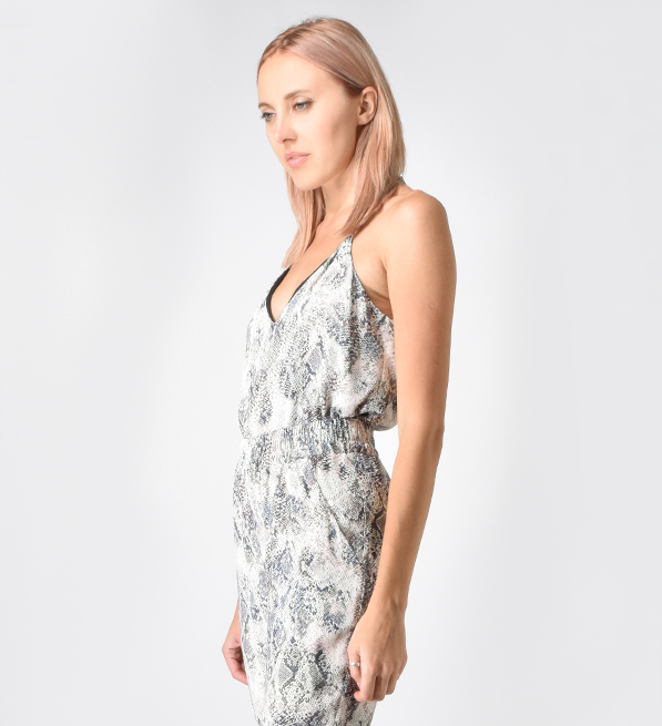 Lavender Brown Snake Cami in Blush/Charcoal