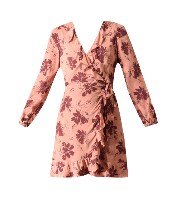 Lavender Brown Wrap Dress in Mauve/Burgundy