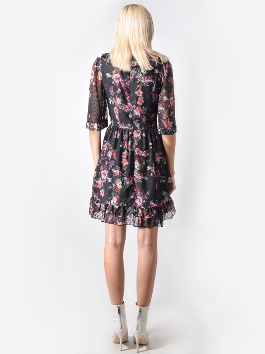 Aurelie Mini Dress in Midnight Garden