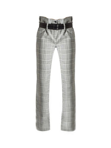RTA Dillon Belted Trouser in Light Grey Plaid