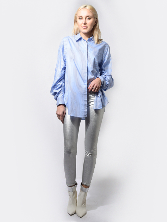 3.1 Phillip Lim Striped Button Up Shirt in Light Blue
