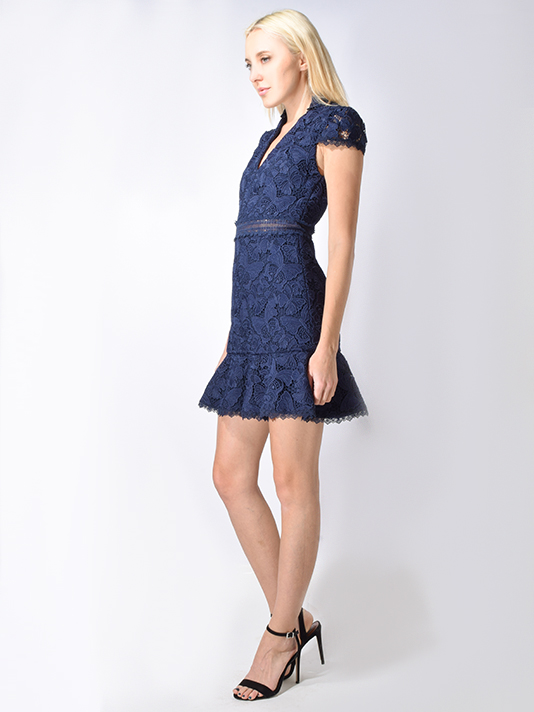 Alice and Olivia Diona Eyelet Dress in Navy Blue