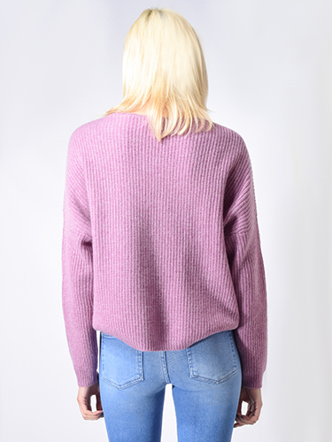 One Grey Day Paxton Cashmere Pullover in Iris