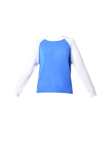 Threads of PRVLG Neon Cashmere Raglan in Bright Blue and White