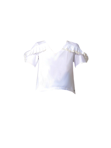 Ottod'Ame Cedro V-Neck Ruched Top in White