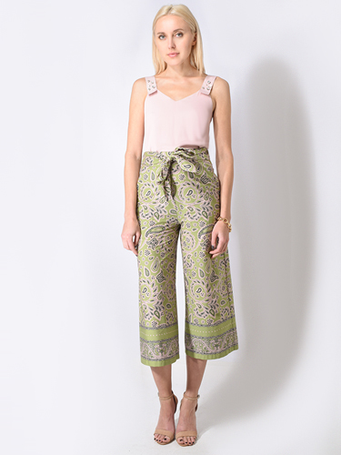 Ottod'Ame Cotton Culottes w/ Pattern in Kiwi