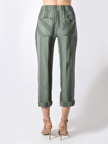 Ottod'Ame Striped Trousers in Garden Green