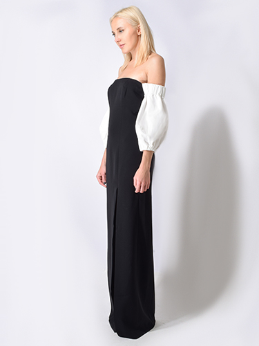 Cinq a Sept Penelope Gown in Black w/ Ivory Trim