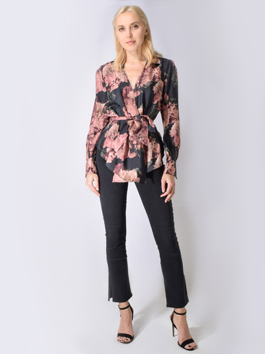 Once Was Humidor Cupro Blend Wrap Top in Eden Floral