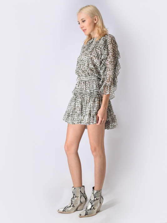 MISA Penelope Dress in Olive and White