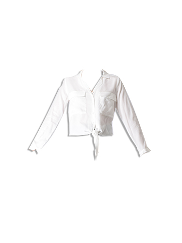 Lavender Brown Button Up Blouse w/ Tie Front in Ivory