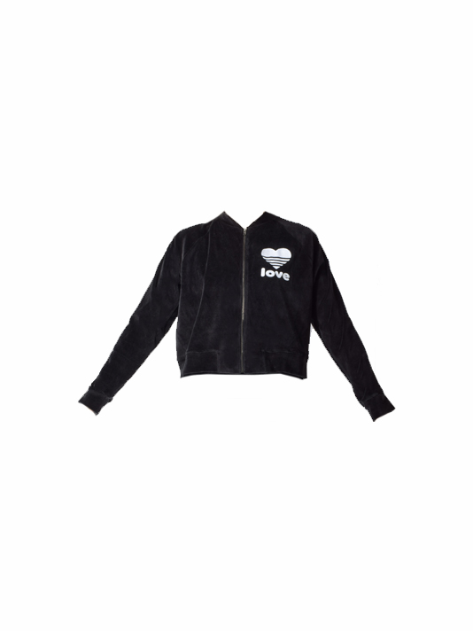 JET John Eshaya Velour Track Jacket w/ Heart in Black