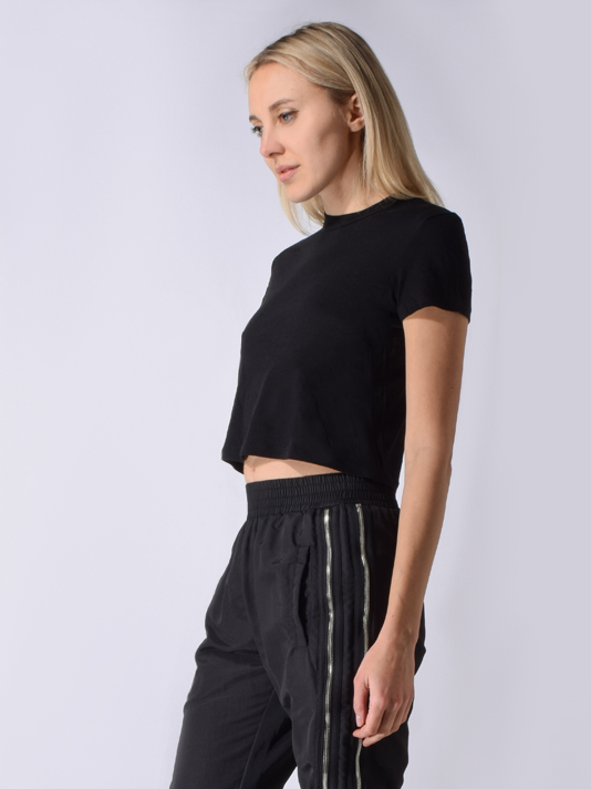 RTA Rain Cropped Tee in Black