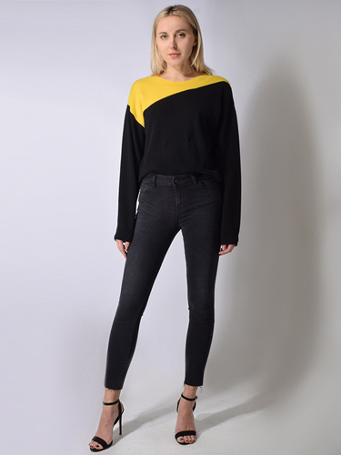 RTA Zane Reversible V-Neck Sweater in Black & Yellow