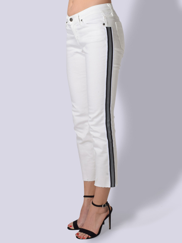 JET John Eshaya Slim Striped Jean in White