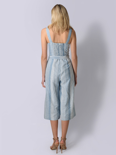 Lavender Brown Striped Jumpsuit in Light Blue & Ivory