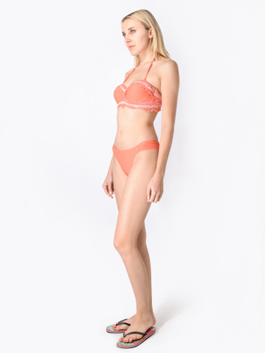 Mer-C Embroidered Strapless Push-Up Bikini in Coral