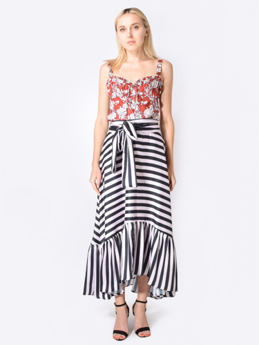 Delfi Devi Skirt in Black & White Striped