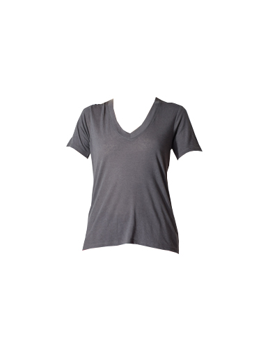 David Lerner Loose Fit V-Neck Tee in Charcoal