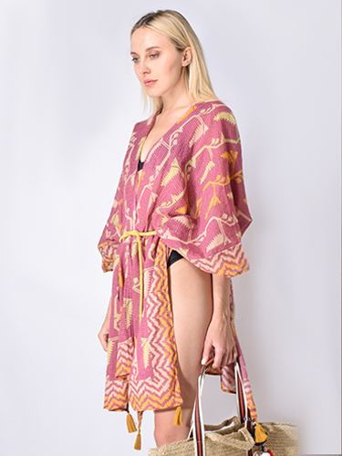 Star Mela Calla Beach Cover-Up in Ikat Print