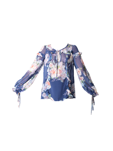 We Are Kindred Josephine Blouse in Blue Floral