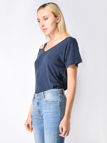 Maison T Olivia Cotton T-Shirt in Navy Blue