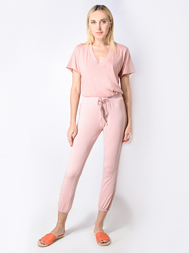 David Lerner Classic Jogger w/ Metallic Tape in Mauve Pink