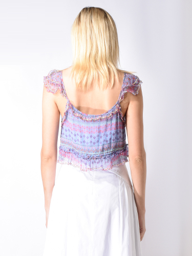 Let Me Be Serendipity Pansy Top in Multi Lilac