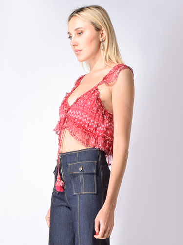 Let Me Be Serendipity Pansy Top in Raspberry Pink