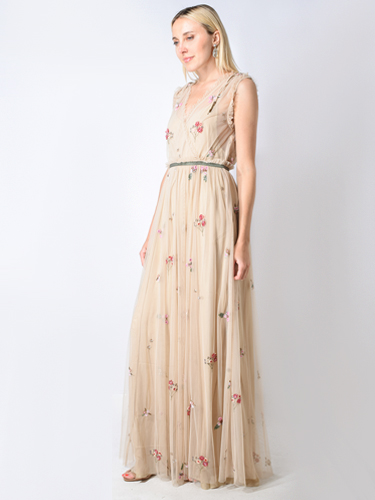 Let Me Be Dance With Me Embellished Gown in Nude Mesh