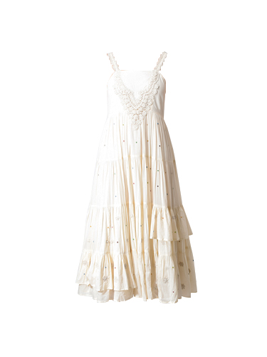 Let Me Be Dahlia Embroidered Tier Midi Dress in Off White
