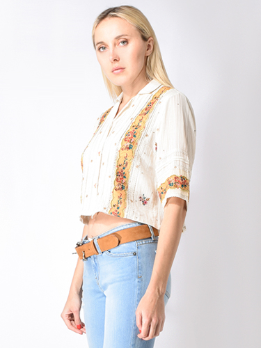 Let Me Be Carmellia Embroidered Button Down Crop Top