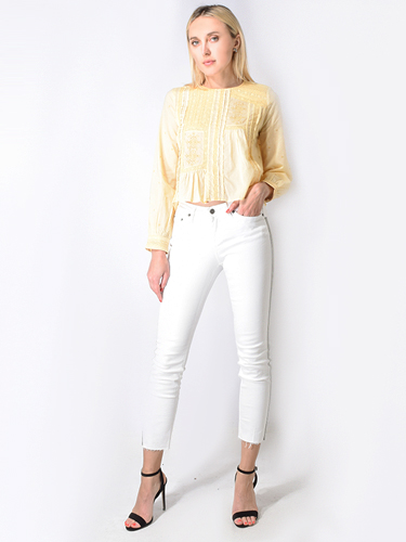 Let Me Be In Love We Trust Embroidered Blouse in Yellow