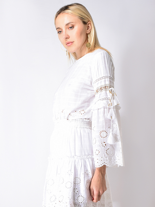 MISA Simi Long Sleeve Top in White Cambric