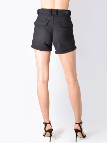 RTA Saint Paper Bag Shorts in Jet Black