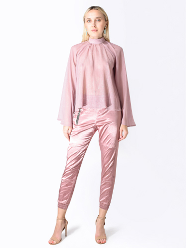 RTA Tennessee High Neck Blouse in Rose Glitter