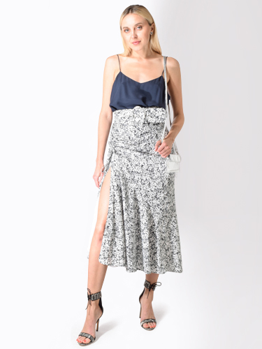 Nicholas Panelled Ruched Floral Midi Skirt in Shadow Multi