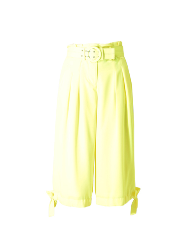 Nicholas Side Tie Cropped Wide Leg Pant in Fluorescent Lime