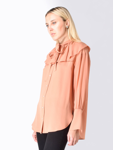 3.1 Phillip Lim Silk Ruffle Button Down Shirt in Salmon