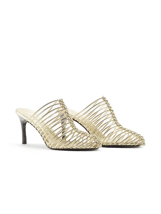 3.1 Phillip Lim Sabrina Cage Leather Mule in Gold