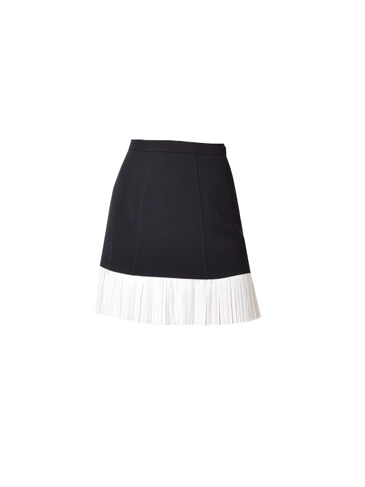 Cinq A Sept Catriona Pleated Skirt in Black & White