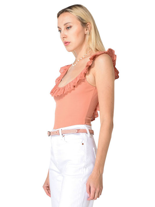 Capulet Dallas Ruffle Low Back Bodysuit in Chai