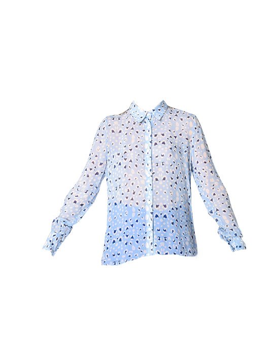 Karina Grimaldi Olivia Print Button Down Top in Periwinkle Animal
