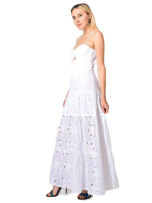 Karina Grimaldi Summer Maxi Dress in White Eyelet