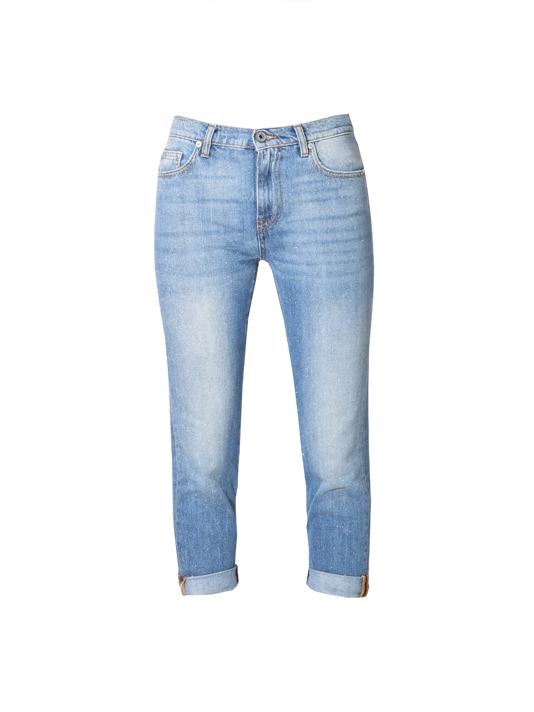 Ottod'Ame Sparkly Cuffed Jean in Blue