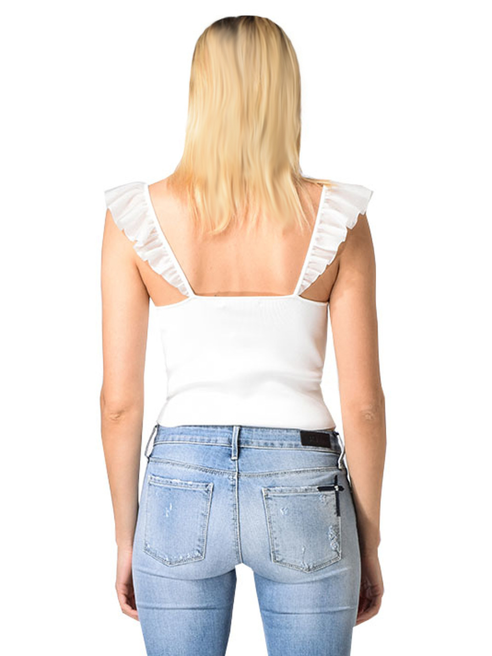 Alice & Olivia Marg Ruffle Crop Top in Off White