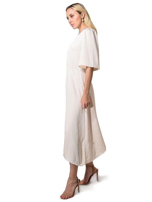 Ba&sh Nora Flutter Sleeve Midi Dress in Champagne