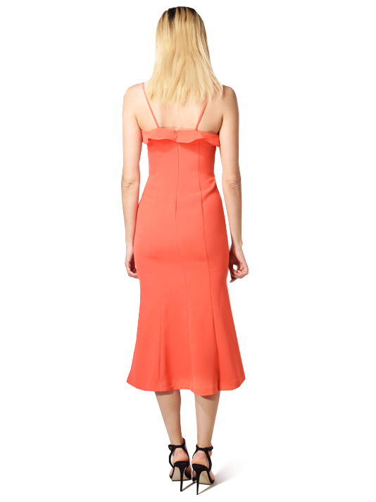 Likely Johanna Flounce Midi Dress in Orange