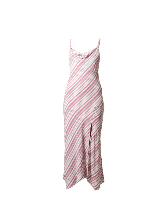 Lavender Brown Striped Cowl Neck Maxi Dress in Red & Ivory